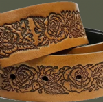 "Roses Embossed Full Grain Leather Belt . 1½"" (38mm) Wide.  Design EM046"